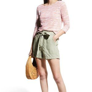 Majestic Filatures Striped Boat-Neck Linen Top NWT
